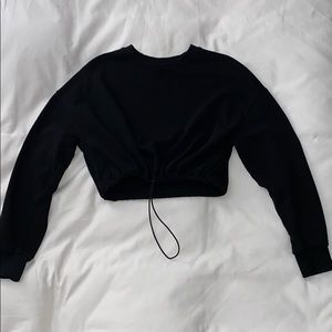 Comfy Black Long Sleeve Crop Top